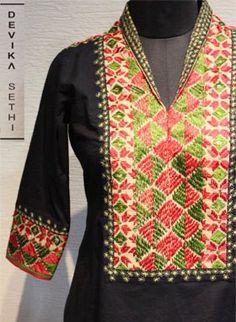Embroidered black kurta Salwar Designs, Kurti Neck Designs, Kurta Designs Women, Blouse Designs, Dress Designs, Salwar Neck Patterns, Dress Patterns, Kurti Embroidery Design, Embroidery Dress