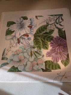 HP Needlepoint Canvas By Leigh Amazing Tropical Floral Flowers