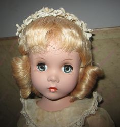 Vintage Madame Alexander Hard Plastic Maggie Doll Curls Tagged w Box   eBay