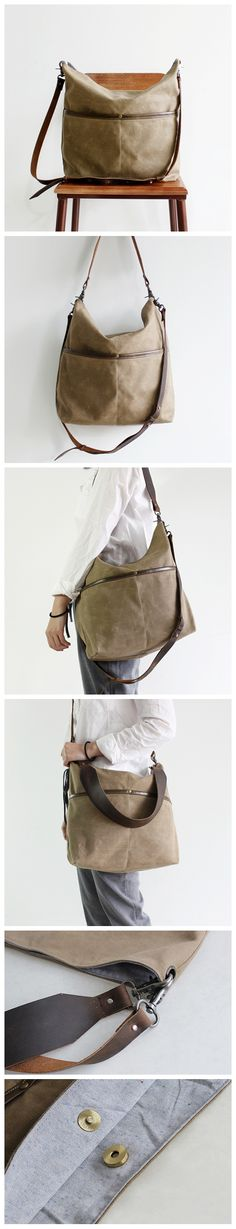 Handmade Canvas Tote Messenger Bag Crossbody Bag Women's Handbag