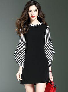 Elegant Stripe Asymmetric Sleeve Skater Dress