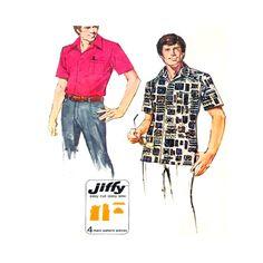 Simplicity 6368 Vintage Jiffy Sewing Pattern Men's Shirt  Size Large