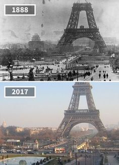 The Eiffel Tower, Paris, France, 1888 - 2017 Then And Now Pictures, Before And After Pictures, Tour Eiffel, Photo Voyage, Old Paris, Tours, Historical Pictures, Civil Engineering, Old Photos