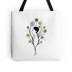 """""Flora"", floral art, girl's profile, flowers, ink & watercolor"" Tote Bags by ptitsa-tsatsa 