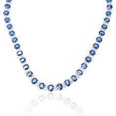18K WHITE GOLD DIAMOND & CEYLON BLUE SAPPHIRE NECKLACE in Jewelry & Watches, Fine Jewelry, Fine Necklaces & Pendants | eBay