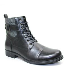 Another great find on #zulily! Black Plaid Bull Combat Boot by ARider #zulilyfinds