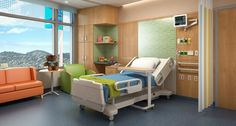 A hospital room in the future UCSF Benioff Children's Hospital at Mission Bay.