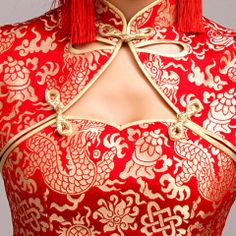 Golden dragon brocade red Chinese mandarin collar high slit cheongsam qipao bridal wedding dress