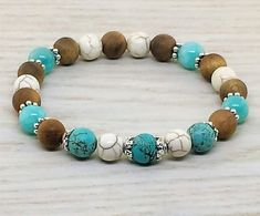 ~ Bracelets by Karen ~ Turquoise, Magnesite and Silkwood with Silver Spacers