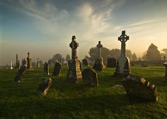 cemetery of Clonmacnoise Monastary on the river Shannon, south of Athlone ... County Offaly, Ireland