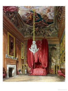 "State Apartments of Henry the VIII | Queen Mary's State Bed Chamber, Hampton Court from Pyne's ""Royal ..."