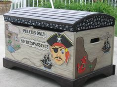 Hand Painted Pirate Toy Chest