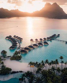 Bora Bora - Travel Inspiration - HoMe Vacation Places, Vacation Destinations, Dream Vacations, Vacation Spots, Holiday Destinations, Vacation Ideas, Beautiful Places To Travel, Romantic Travel, Wonderful Places
