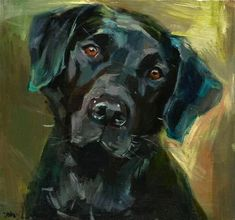 "Daily Paintworks - ""TRUST - black labrador, a dog, labrador"" - Original Fine Art for Sale - © adam deda"
