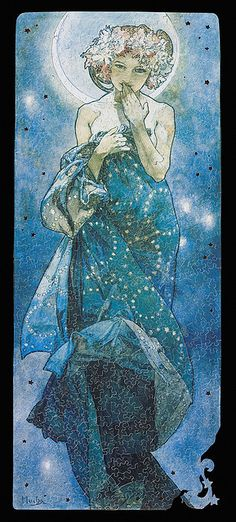 The Moon by Alfons Mucha
