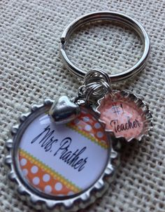 TEACHER GIFT Bottle Cap Keychain - Birthday Gift, Teacher Gift, Apple Charm on Etsy, $10.00