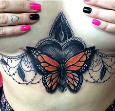 Love this monarch butterfly with artistic flourishes.