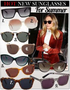 Sunglass guide for the summer. Check out Aldo, Michael Kors or Sunglass Hut for some of these trendy shades!