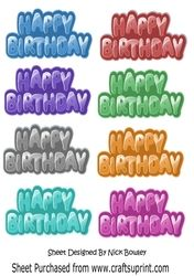 Happy Birthday tags in lovely colours on Craftsuprint - View Now!