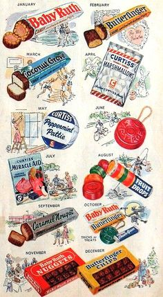 CURTISS CANDY Vintage Illustration Advertisement is part of Vintage candy - christian montone Old Advertisements, Retro Advertising, Retro Ads, Advertising Campaign, Advertising Design, Photo Vintage, Retro Vintage, Vintage Items, Vintage Food