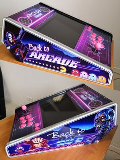 "Bartop ""Back to Arcade"" Bartop Arcade Plans, Arcade Cabinet Plans, Arcade Console, Jukebox, Jeux Nintendo 3ds, Mini Arcade Machine, Raspberry Projects, Arcade Room, Arcade Table"