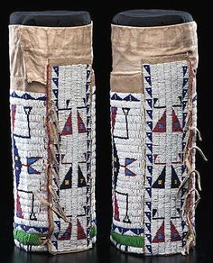 Leggings | Sioux Half Woman Beaded Hide Spider Design 13