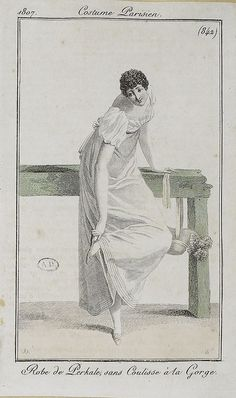 Out walking and getting a stone in her shoe. Costume parisien, 1807