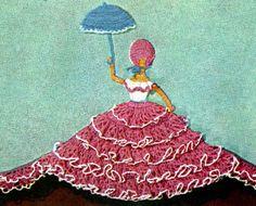 Crinoline Cameo motif crochet pattern from Crinoline Lady in Crochet, originally published by Coats & Clark, Book No. 262, in 1949.