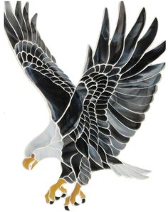 Eagle mosaic on glass