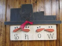 Hanging Snowman Block Set :: Wood