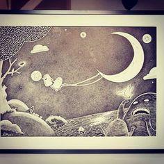 #art #artist #instaart #instaartist #artsanity #arthabit #sketch #dan_ene #alsace #strasbourg #dailypic #frame #drawing #illustration #doodle #lineart #markers #weird #spooky #instadaily #sea #butterfly #moon #hanging #star
