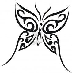 neck tattoos butterfly tribal | Black Ink Tribal Butterfly Tattoo Design