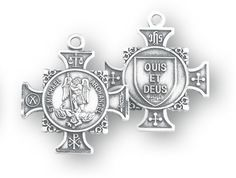 Sterling Silver Maltese Cross Shaped St. Michael Medal by HMH | Catholic Shopping .com