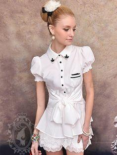 Morpheus Boutique - White Cap Sleeve Belted Button Down Shirt Kawaii Fashion, Cute Fashion, Girl Fashion, Diesel Punk, Mori Girl, Cute Little Girl Dresses, Girls Dresses, Girl Outfits, Cute Outfits