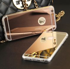 """J&R Luxury Plating Mirror TPU Frame Case For iphone 5S 5 SE 6 6S 4.7 6 6S Plus 5.5"""" 7  7 plus Cover Soft Back Phone Bag"""
