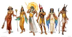 Egyptian Gods by KateMaxpaint monster beast creature animal | Create your own roleplaying game material w/ RPG Bard: www.rpgbard.com | Writing inspiration for Dungeons and Dragons DND D&D Pathfinder PFRPG Warhammer 40k Star Wars Shadowrun Call of Cthulhu Lord of the Rings LoTR + d20 fantasy science fiction scifi horror design | Not Trusty Sword art: click artwork for source
