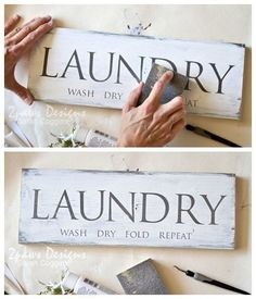 Laundry Room Sign Tutorial DIY Laundry Room Sign: Add a little fun to your Laundry Room with an easy, DIY decorative wooden sign! Post includes the full, step-by-step tutorial.