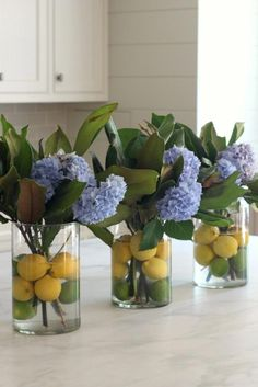 Hydrangea Flower Arrangement- Hydrangea Magnolia and Citrus Citrus Hydrangea Magnolia Summer Flower Arrangement. Such a cute idea for a summer dinner party! The post Hydrangea Flower Arrangement- Hydrangea Magnolia and Citrus appeared first on Summer Diy. Hortensia Hydrangea, Hydrangea Flower, White Hydrangeas, Flower Vases, Garden Cottage, Home And Garden, Spring Garden, Deco Floral, Diy Décoration
