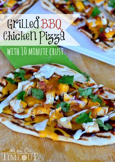 Grilled BBQ Chicken Pizza with 10 Minute Pizza Crust from MomOnTimeout.com  Perfect for hot summer nights and busy schedules! #pizza #recipe