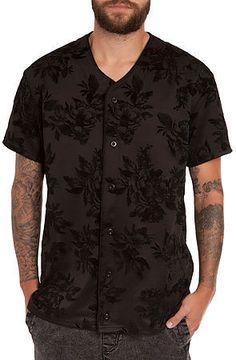 The Floral Neoprene Baseball Jersey in Black by Elwood