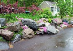 Coming across rock landscaping ideas backyard can be a bit hard but designing a rock garden is one of the most fun and creative forms of Landscaping With Boulders, Landscaping On A Hill, Driveway Landscaping, Outdoor Landscaping, Outdoor Gardens, Landscaping Ideas, Rockery Garden, Sloped Garden, Rock Garden Design