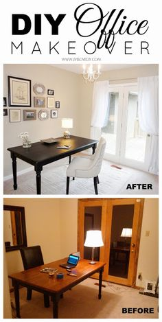 Office makeover ideas budget office makeover for just so many great ideas in this post about how to make your money go farther when decorating on a budget Home Office Space, Home Office Design, Home Office Furniture, Home Office Decor, Diy Home Decor, Office Ideas, Furniture Ideas, Office Set, Smart Furniture