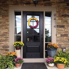 traditional front door with a splash of modern