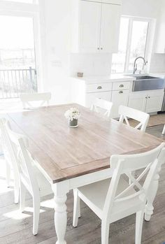 White Dining Room Table And Chairs white dining table dining room table, liming HHGPWNO - Home Decor Ideas Decor, White Dining Table, Dining Room Design, Dining Room Furniture, Cottage Dining Rooms, Dining Room Small, Home Decor, House Interior, Farmhouse Dining