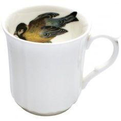 Four different birds sit inside cute panel bone china mugs.