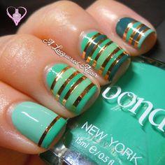 Striping Tape Mani with Bondi New York Polishes #alacqueredaffair #nailart #green #stripes - bellashoot.com
