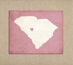 South Carolina State Art Silhouette Map By Mereleemade On Etsy 16 00
