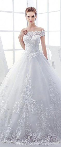 230d2ac4be Elegant Tulle Off-the-shoulder Neckline Ball Gown Wedding Dresses With Lace  Appliques