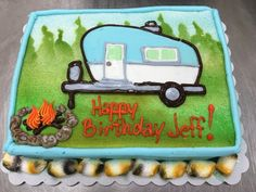 Camping cake by Laurie Grissom Cake Pics, Cake Pictures, Cookie Decorating, Decorating Ideas, Camping Cakes, Cake Drawing, Cupcake Cakes, Cupcakes, Vintage Cakes