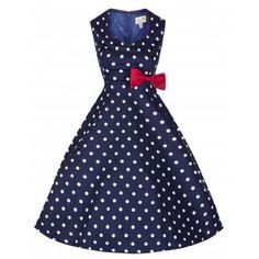 Leda Blue Polka Dot Swing Dress | Vintage Inspired Fashion - Lindy Bop